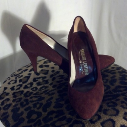 1980′s Chocolate Brown Sergio Zelcer Suede Leather Vintage Heels Pumps Shoes