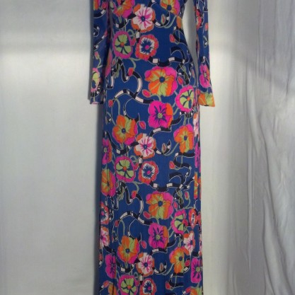 1960′s Funky Psychedelic Maxi Dress Vintage Hippie Flower Child