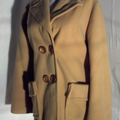 1960′s Butterscotch Wool Double Breasted Pea Coat Jacket Vintage Mod Coat