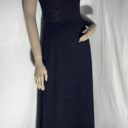 1970′s Black & Silver Lurex Knit Vintage Halter Style Disco Column Dress