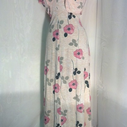 1970′s Fun Floral Polyester Vintage Disco Maxi Dress with Matching Shrug