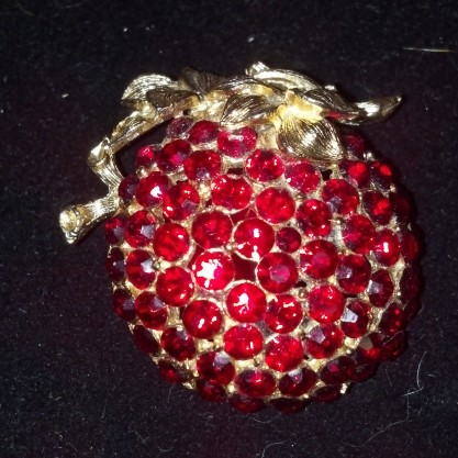 Vintage Poison Red Rhinestone Apple Pin Brooch Statement Jewelry