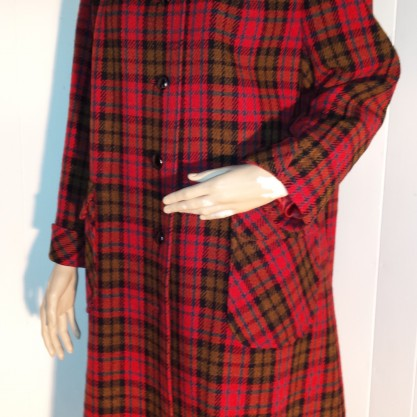 Stunning Harris Tweed Red Plaid Coat Vintage Tartan Trench Style Coat