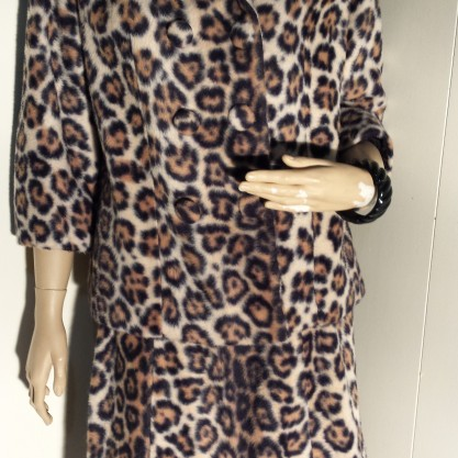 Vintage Pin up Faux Fur Leopard Skirt Suit 2 pc.