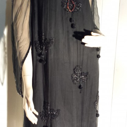Gorgeous 20's Onyx Black Beaded Flapper Dress