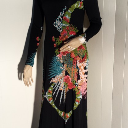Vintage 1970's Malcolm Starr Black Floral Column Dress
