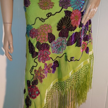 Lime Green BEADED BURNOUT VELVET FRINGED SHAWL