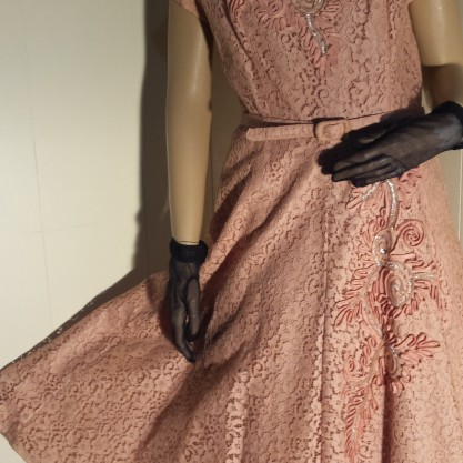 Gorgeous 1950's New Look Peachy Pink Prima NY Cocktail Formal Dress